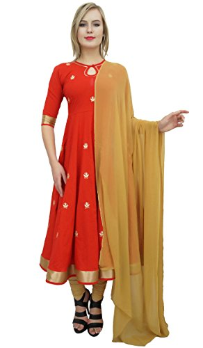 Wear Atasi Indian Readymade Designer amp; Clothing Beige Suit Set Party Anarkali Red FxSO1nxw