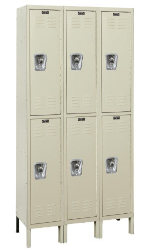 Hallowell Ready-Built URB3288-2A-PT Parchment Steel Wardrobe Locker, 3 Wide with 6 Opening, 2 Tier, 36