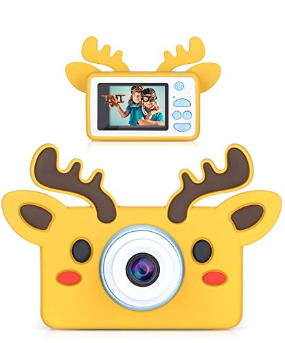 lilexo Kids Camera - Children Shockproof Digital Video Camcorder for Boys and Girls Gifts, Anti Slip Grip with Animal Silicone Cover for Extra Protection - 16GB Memory Card Included (Brown Reindeer)