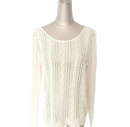 Tongshi Mujeres en forma de corazón de hueco de punto de manga larga blusa superior del suéter Blanco