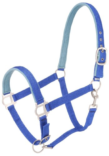 Blue Halter (Tough 1 Nylon Padded Halter with Satin Hardware, Royal Blue, Horse)