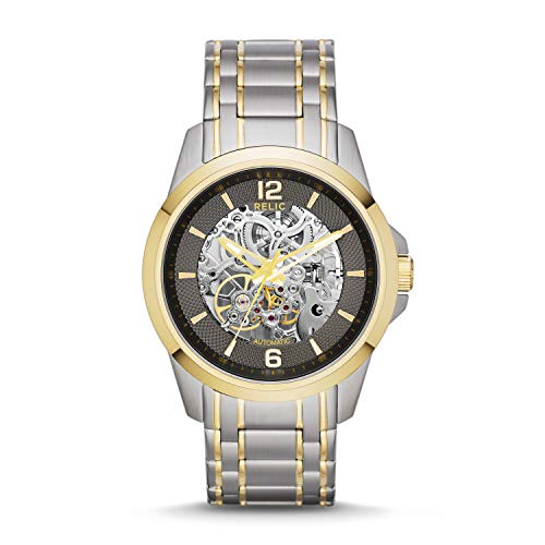 Relic by Fossil Men's Cameron Automatic Stainless Steel Sport Watch, Color: Silver/Gold (Model: ZR12109)