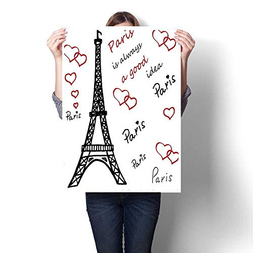 Canvas Painting Sticker,Decor Eiffel Tower Paris is Always A Good Idea Tourism Locations Sweet Love Oils,Print On Canvas for Wall Decor,16