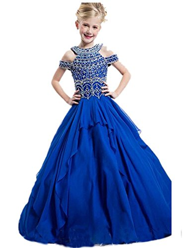 Babibridal Little Girls Birthday Party Beaded Floor length Ball Gown Pageant Dresses (8, Royal (Pageant Fancy Dress Costumes)