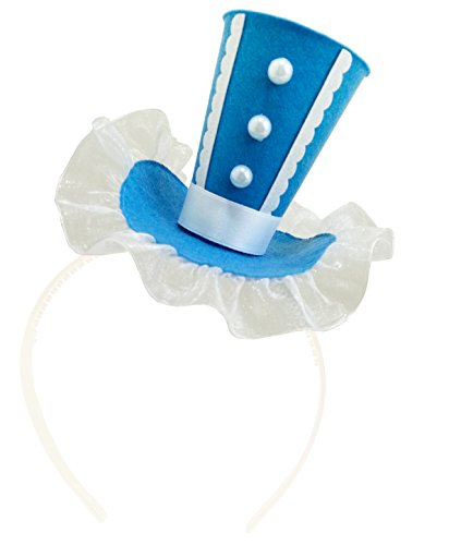 Cocktail White Top Hat Headband (Blue Mini Top Hat Headband Mad Hatter Tea Party Costume Alice in Wonderland Decoration)