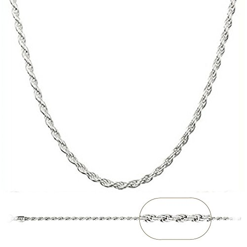 925 Sterling Silver Italian 1.2mm Magic Diamond-Cut Rope Chain Crafted Necklace Thin Lightweight Strong - Lobster Claw Clasp (20, sterling-silver)