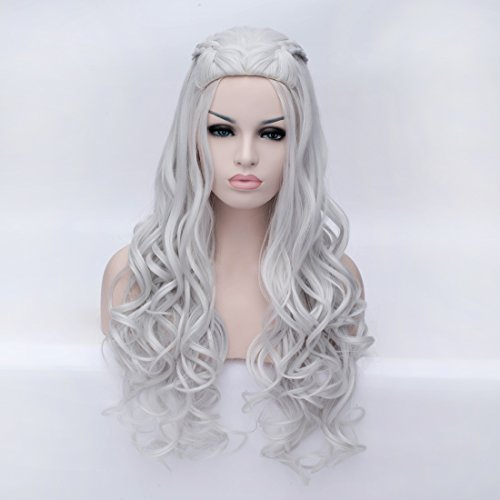 Daenerys Game Of Thrones Costumes (Aosler Game of Thrones Daenerys Targaryen Cosplay Wig Braided Silver White Long Curly Synthetic Hair Wigs)