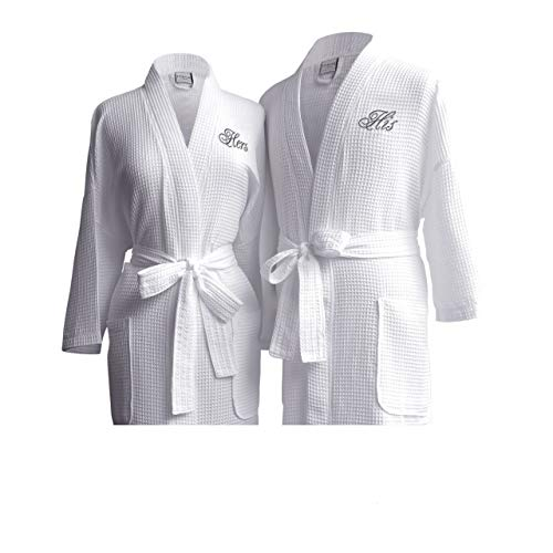 Luxor Linens Egyptian Cotton Waffle Weave Robe with His/Hers Couple