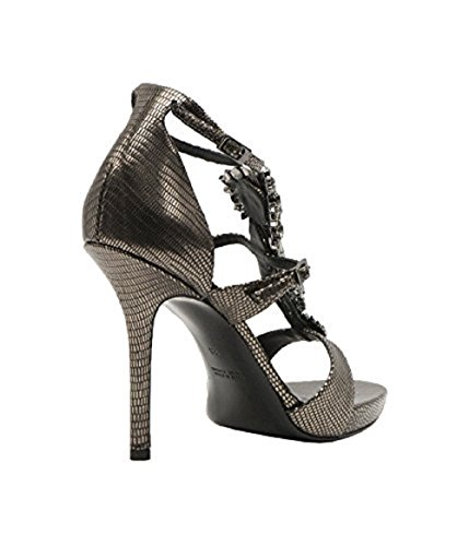 Baldan Italienska Designern Ödla Print Ankelbandet Sandal Med Juveler Grå
