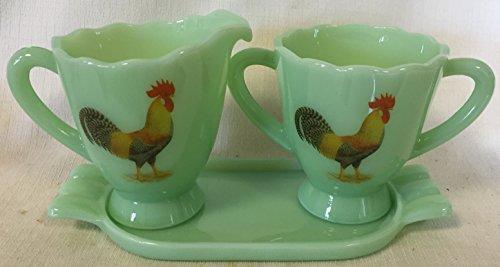 Creamer Sugar & Tray Set - Plain & Simple - Mosser Glass USA - Jade Jadeite Jadite Green Glass w/ Chickens (Rooster Tray Set)