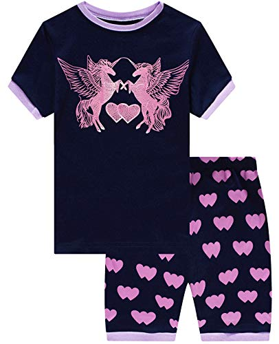 Girls Short Pajamas Unicorn Glow in The Dark Toddler Pjs Clothes Kids Sleepwear Summer Shirts Size 6 -