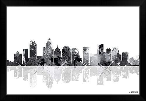 CANVAS ON DEMAND Charlotte NC Skyline BW I Black Framed Art Print, 33