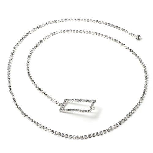 Silver Crystal Chain Belt with Rectangular Shape Rhinestones End