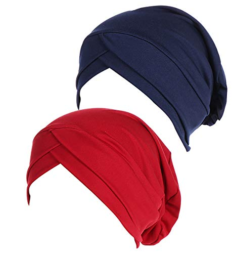 JarseHera Chemo Turbans for Women Pre Tied Model Cotton Vintage Cover Twist Pleasted Hair Caps (Style2-Navy Blue+Wine,2 Pair, One Size Fit All) (Best Shampoo For Alopecia In India)