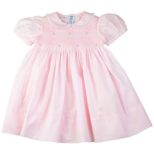 Feltman Brothers Dress Girls Pink Smocked Dress with Lace Trim Infant Easter (24 Months)