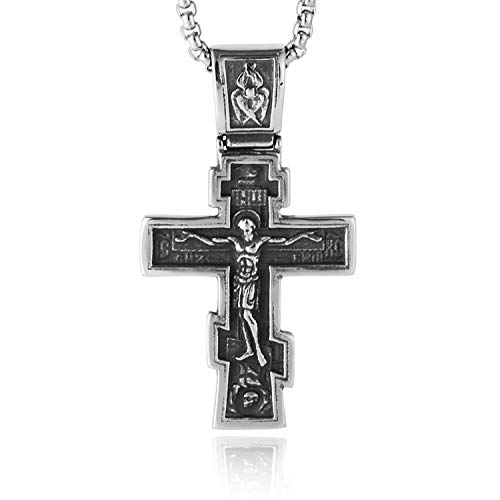 HZMAN Vintage Orthodox Cross Crucifix Stainless Steel Pendant Necklace 24 Inches Chain ()
