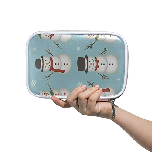 SLHFPX Cartoon Cute Snowman Snowflake Big Pencil Case Multifunction Leather Makeup Brushes Bag Storage Zip Pouch