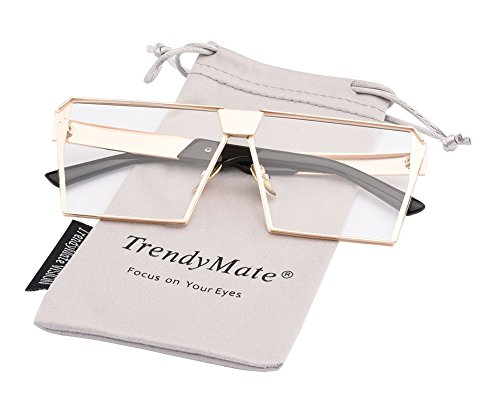 Large Square Sunglasses - TrendyMate-Womens Men Reflective Color Mirror Lens Large Square Metal Rimmed Sunglasses Unisex (Gold Clear, 65)