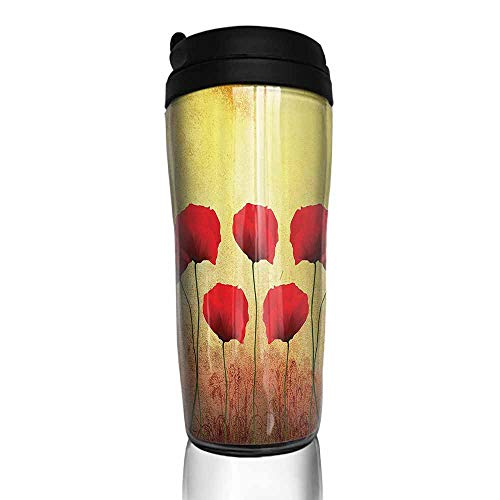 (coffee cups for mom Poppy Decor,Poppies On An Old Dated Aged Retro Featured Backdrop Design Past Days Drama Petals,Scarlet Light Yellow 12 oz,coffee cup valances for windows)