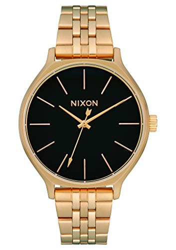 NIXON Clique A1253 - Gold/Black - 54M Water Resistant Women's Analog Classic Watch (38mm Watch Face, 17mm-15mm Stainless Steel Band)