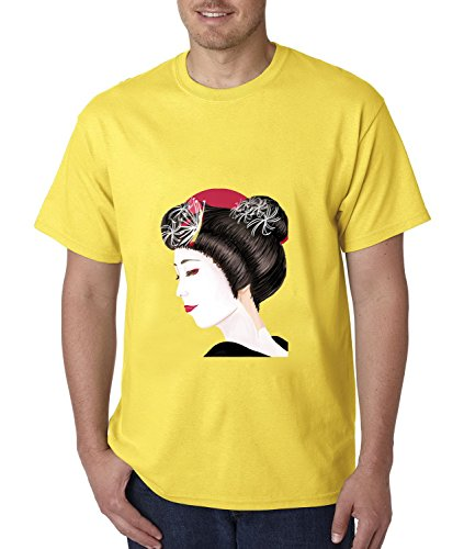 FeelingSmart Geisha Painting Art Brightly Graphic Short Sleeve mens T-shirt Size XXXXL