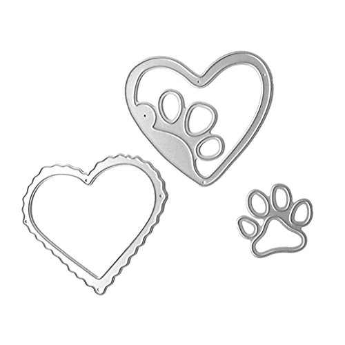 Misright Unique Steel Metal Cutting Embossing Dies Stencil for DIY Scrapbooking Paper Card Craft (Love dog's palm)