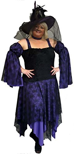 Wicked Costumes Musical (Stage-Panto-Wicked-Halloween DELUXE PURPLE & BLACK WITCH Ladies Costume - All Ladies Sizes (LADIES 28-30))