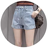 Design Big Pockets Denim Shorts Female Short Cintura Alta High Waist Pantalones Cortos New Vaqueros Women,X-Large,LightBlue