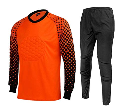 CATERTO Men's Football Goalkeeper Foam Padded Jersey Shirt & Pants(Orange,S) Tag Size: L