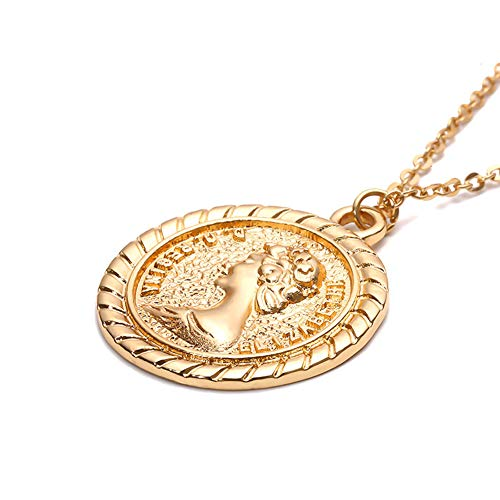 - Y&M Choker Necklaces Handmade 14K Gold Filled Simple Religious Madonna Pendant Necklace