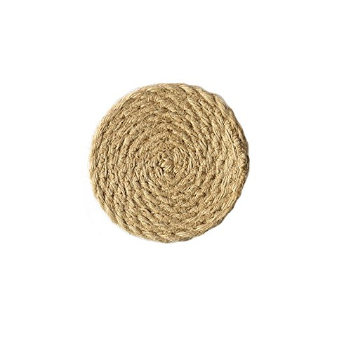 51Panda 1 Pcs 7.09 Inch Jute Burlap Braided Placemats Classic Natural Color Handmade Woven Round Rattan Table Mat for Dining Table Resistant Hot Insulation (Natural Jute Classic)