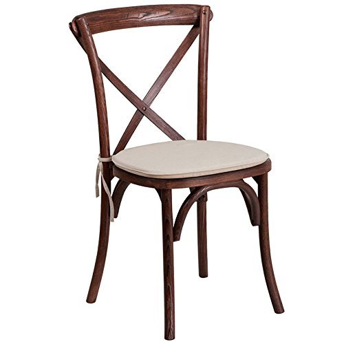 Olympus Series Stackable Wood Cross Back Chair with Cushion