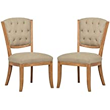"Amazon Brand – Stone & Beam Bergen Tufted Dining Room Kitchen Chairs, 38.6""H, Set of 2, Hemp Beige, Wood Oak"