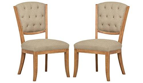 Stone & Beam Bergen Tufted Dining Room Kitchen Chairs, 38.6 Height, Set of 2, Hemp Beige, Wood Oak