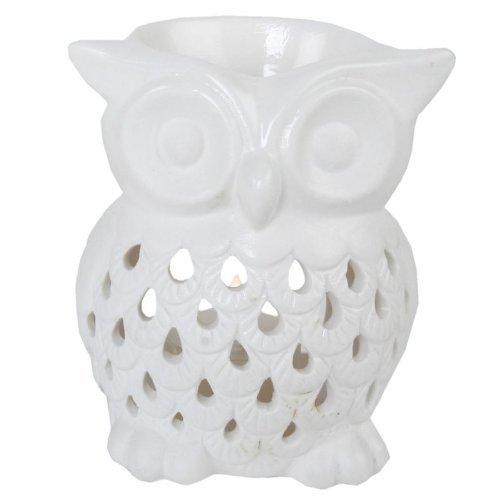 FRAGRANT OIL BURNER TEALIGHT HOLDER OWL DESIGN WHITE - Tinas Collection
