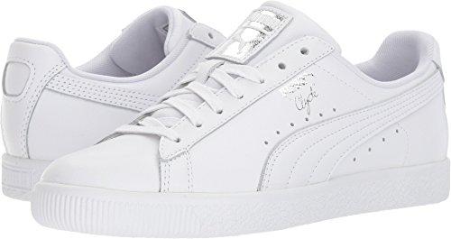 PUMA Women's Clyde Core L Foil White Silver 10 B - Puma 10 Womens Shoes Size