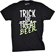 Mens Trick or Beer Glowing T shirt Cool Halloween Glow In The Dark Tee