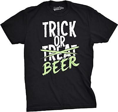 Mens Trick or Beer Glowing T shirt Cool Halloween Glow In The Dark Tee
