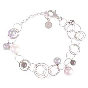 Majorica Women's Silver 925 Pearl Bracelet, 25 cm