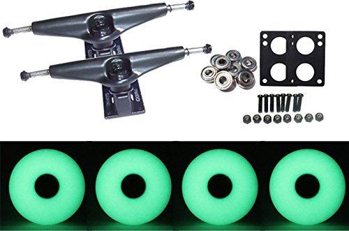 TGM Skateboards Longboard Trucks/Wheels/Bearings Black 7.0 + 70Mm Glow In...
