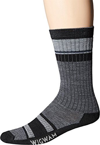 Wigwam Men's Pikes Pro Lightweight Outdoor Peak 2 Pub Crew Sock,Charcoal,Large/shoe Size:Men's 9-12,Women's - Pike Pro
