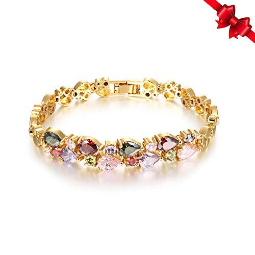 (Joymoment Women Bracelets 18K Yellow Gold Plated Multi-Color Cubic Zirconia Tennis Bracelets )