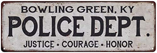 Bowling Green, KY Police DEPT. Home Decor Metal Sign Gift 8 x 24 Matte Finish Metal 108240012562 (Green Ky Bowling Furniture)