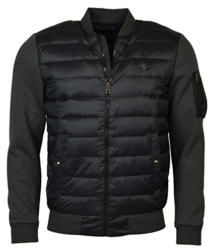 Polo Ralph Lauren Men's Double Knit Hybrid Down Bomber Jacket - L - Windsor Heather/Polo Black]()