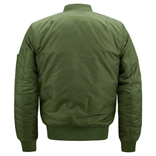 Verde Invernale Uomo Cappotto Giacca Lunga Imbottita Manica Esercito Bomber Con Sentao Parka Cerniera Retro Giubbotto t6w6df