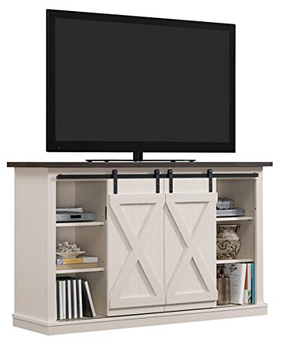 Pamari TC54-6127-TPG03 Wrangler Sliding Barn Door TV Stand, Off-White ()