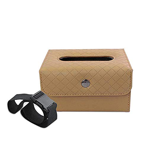 YIDA Universal Car Tissue Box Holder Luxury PU Leather Hanging Paper Organizer/Seat Back Napkin Box/Durable Paper Box for Home, Office, Car & Truck Decoration (Biege,1pcs) ()