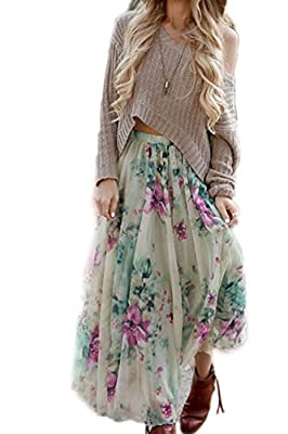 Zilcremo Women's Bohemian Floral Print Swing Skater Maxi Party Skirt