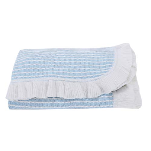 NOREEN Casual Lightweight Spring Summer Striped Cotton Blanket Throw with Ruffled Trim for Infants Toddlers & Kids Couch Sofa Chair (Blue, 30