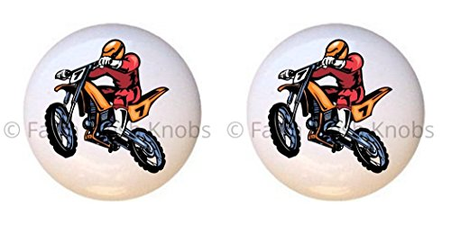 SET OF 2 KNOBS - Design #07 - Motocross Dirt Bike Motorcycle - DECORATIVE Glossy CERAMIC Cupboard Cabinet PULLS Dresser Drawer KNOBS